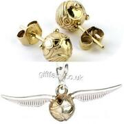 Official Genuine Harry Potter Sterling Silver Golden Snitch Studs And Charm Set