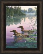 Northern Splendor Kim Norlien 16x20 Loons Pair Baby Lake Framed Wall Art Picture
