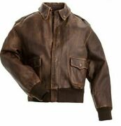 A2 Bomber Air Force Style Flight Jacket Real Leather Vintage Distressed Brown
