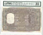 India Pick 46a Bombay 1954-57 B Rama Rao 1000 Rupees Pmg 35 Low Number
