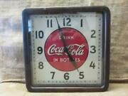 Vintage 1939 Electric Coca-cola Clock Sign Wood Metal Glass Antique Coke 10028