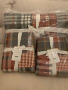 Pottery Barn Pearson Plaid Patchwork King Cal.king Quilt Set With 2 Euro Shams