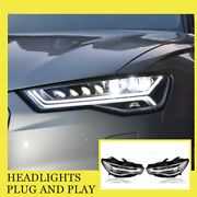 For Audi A6 Headlights Double Xenon Beam Hid Projector Led Drl 2012-2018