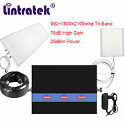 900 1800 2100mhz Tri Band Phone Signal Booster Repeater Amplifier For Voice Net