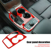 Red Car Central Gear Shift Panel Cover Trim For Jeep Grand Cherokee 2016-2020