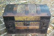 Antique 19c. Dome Top Pressed Tin Steamer Trunk
