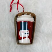 Starbucks Coffee Red Cup Ceramic Ornament 2012 - Still New With Packaging