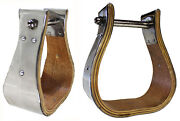 Horse Saddle Western Ss Covered Wooden Bell Stirrups 3 Tread 51124