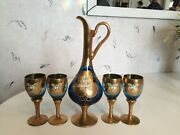 Italian Glass Decanter Set With Four Wine Glasses 24k Gold Leaf - Blue
