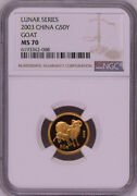Ngc Ms70 2003 China Lunar Series Goat 1/10oz Gold Coin