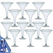 12 Disposable Clear Plastic Large Martini Cocktail Party Drinks Glasses