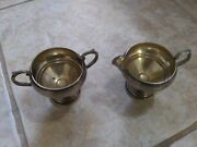 Antique Fb Rogers Silver Co Sterling Silver Cream And Sugar 135 Weighted