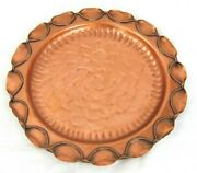 Gregorian Rose Pressed Decor Plate Roped Edges Solid Copper Made In Usa