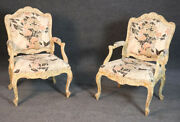 Gorgeous Pair Distressed White Painted French Louis Xv Bergere Lounge Chairs