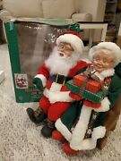 Vintage Holiday Creations Mr. And Mrs Santa Claus On Bench Animated 18 High
