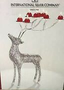 New In The Box International Sliver Plate 19 Reindeer Candle Holder