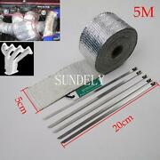 2 X 5m Silver Exhaust Heat Wrap Manifold Downpipe High Temp Bandage Tape Roll