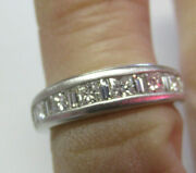 1.50 Ctw Platinum Princess Cut And Baguette Diamond Ring Band Size 5.5 Make Offer