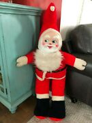 Vintage Christmas Giant Plush Santa Claus Doll Display Piece 45 In Plastic Face