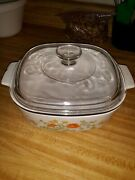 Vintage Corning Ware Wildflower 2 Quart Casserole With Lid - Small Crack As Seen
