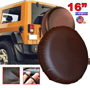16 Tan Leather Spare Wheel Tire Cover For Jeep Wrangler Liberty Rubicon Size L