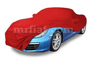 For Porsche Boxster 981 Red Indoor Fabric Car Cover W/ Mirror Pockets 2012-16
