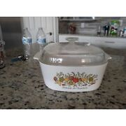 Vintage Corning Ware Spice Of Life 5 Qt Casserole Dish A-5-b And A-12c Lid Roaster
