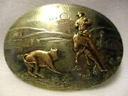 Awesome Cutting Horse Irvine Jachens Solid German Silver 2 Banner Belt Buckle