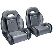 Pair Bass Boat Bucket Seats In Charcoal And Black