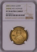 Ngc Pf70 2005 China Zheng Heand039s Voyage 1/2oz Gold Coin With Coa