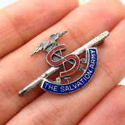 925 Sterling Silver Vintage Enamel The Salvation Army Pin Brooch