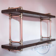 Copper Pipe And Brass Reclaimed Wood Bookshelf Industrial 2 Shelves Wall Unit