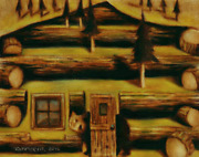Tommervik Log Cabin Grizzly Bear Painting Outdoors Nature Wildlife Surreal Bears