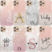 Pink Initial Phone Case Personalised Pink/grey Marble Hard Cover For Lg/oneplus