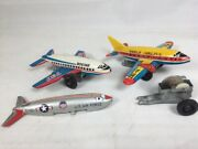 3 - 1960's Japan Tin Litho Airplanes Usaf Mini-jet Plane With Friction Motor