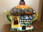 Tony Carter Studio English Cottage Teapot Earthenware Hand Painted W/certificate