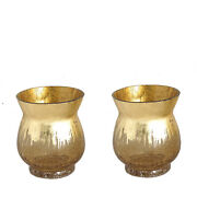 8 Tall Gold Crackle Glass Candle Holders Vases Wedding Party Centerpieces Sale