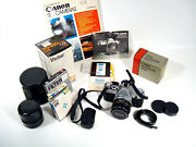 Vintage Canon At-1 Slr 35 Mm Camera And Several Lenses Flash Book Tested
