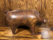 Rare Vintage Dimitri Omersa Leather Pig Abercrombie And Fitch Footstool 1950andrsquos Htf