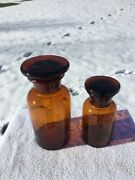 Lot Of 2 Amber 1870s Apothecary Drugstore Medicine Bottles With Ground Stoppers