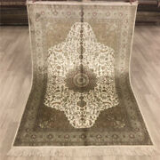 Yilong 4and039x6and039 Handmade Silk Carpet Traditional Home Indoor Easy To Clean Rug 033b