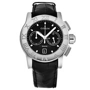 Corum Menand039s Romulus Black Dial Black Leather Strap Automatic Watch R984/03549
