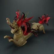 Antique Dragon Old Wooden Oriental Carved Bedazzled Stunning 24 Inch