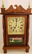 Vintage Working Ornate Carved Pillar And Scroll Early American Style Mantel Clock