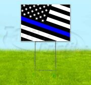 Police Lives Matter 18x24 Yard Sign With Stake Corrugated Bandit Usa Flag