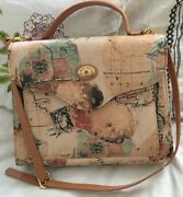 Michelangelo Two Way Stamp Globe Old World Convertible Top Handle Purse Bag-mint