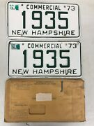 1935 Pair Of 1973 New Hampshire Vanity License Plates Commercial Vintage