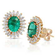 2.71 Ct Zambian Emerald And 1.69 Ct Diamonds In 14k Rose Gold 14mm Stud Earrings