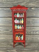 Dept 56 Red Painted Wood Pantry Cupboard Doll Size -vhtf