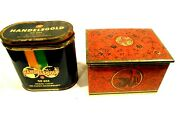 2-vintage 1950and039s Cigar Tins Handelsgold And A West German One